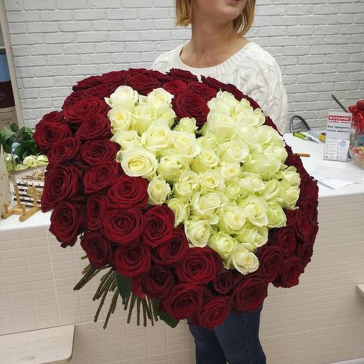 "Букет из 101 розы ""Сердце"": букеты цветов на заказ Flowwow"