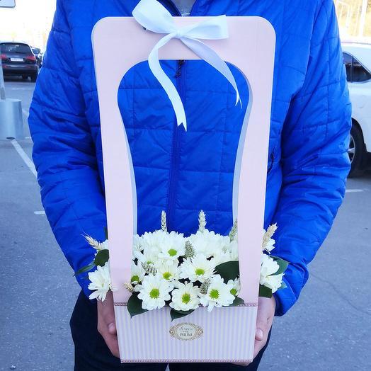 Кашпо с хризантемой и пшеницей: букеты цветов на заказ Flowwow