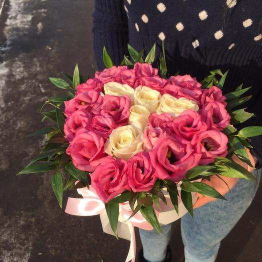 Сердце и эустом: букеты цветов на заказ Flowwow