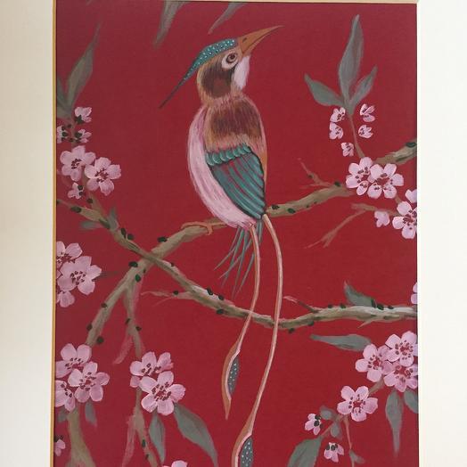 Птица на красном: букеты цветов на заказ Flowwow