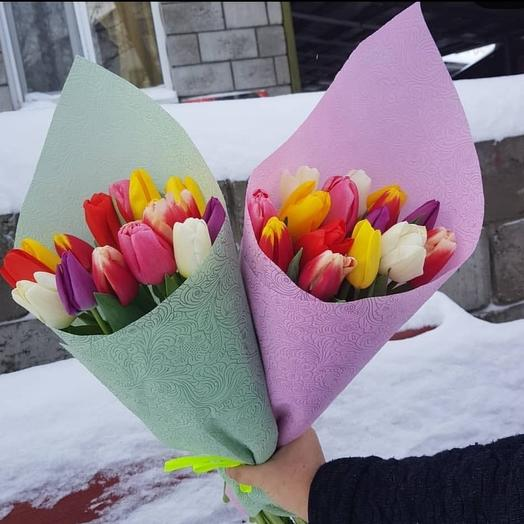 Букет из 15 тюльпанов микс: букеты цветов на заказ Flowwow