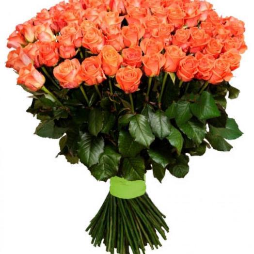 Букет из 101 оранжевой розы: букеты цветов на заказ Flowwow
