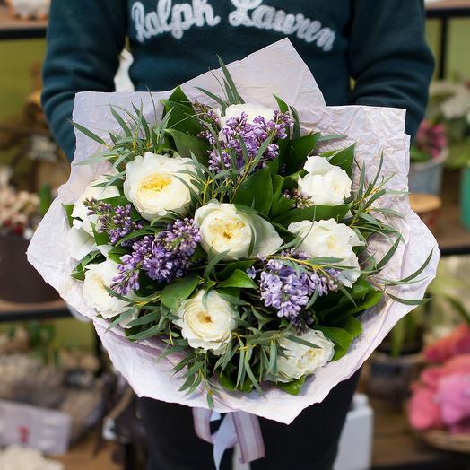 """Букет из пионовидных роз и сирени """"Легкий запах роз"""": букеты цветов на заказ Flowwow"""