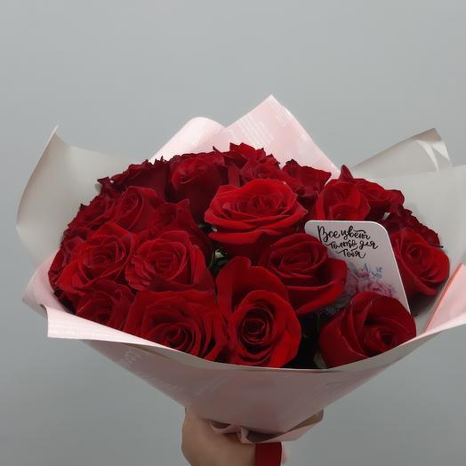 Букет красных роз в упаковке: букеты цветов на заказ Flowwow