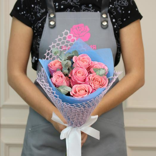 Букет из 7 розовых роз премиум: букеты цветов на заказ Flowwow