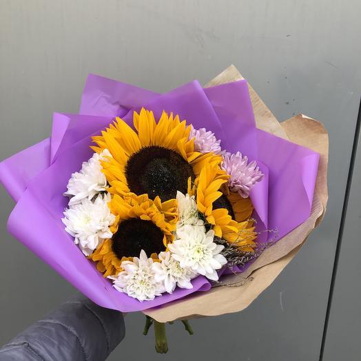 Подсолнечный 💛💜: букеты цветов на заказ Flowwow