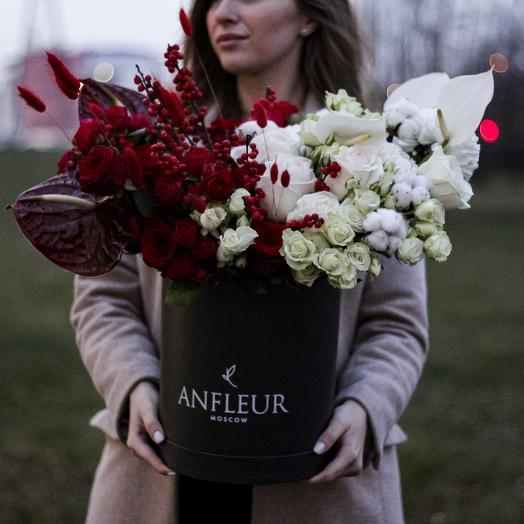 Коробка размера L с сортовыми отборными цветами: букеты цветов на заказ Flowwow