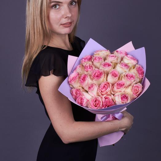 25 роз Эксперанс, премиум класс (стеклянная ваза в подарок, см. условия акции)