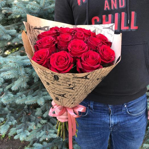 Rosalina 15 красных роз 50 см