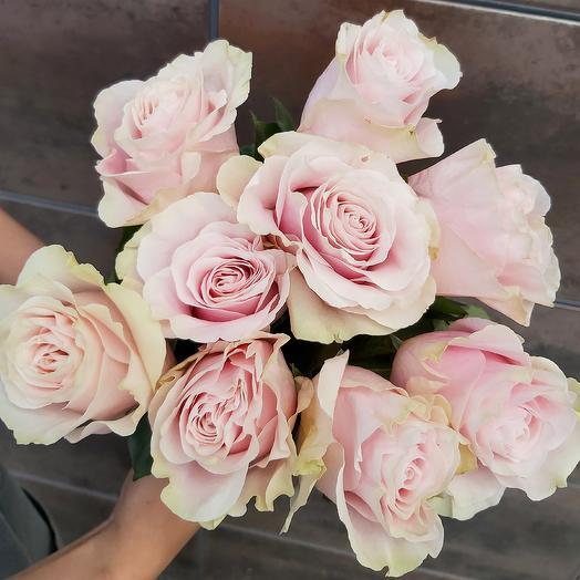 Монобукет Pink mondial роза одноголовая 60 см — 9 шт под ленту
