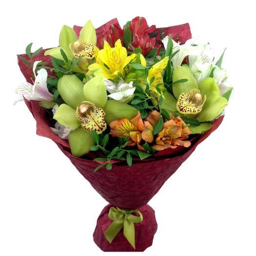 """Букет с орхидеями """"Яркое утро"""""""