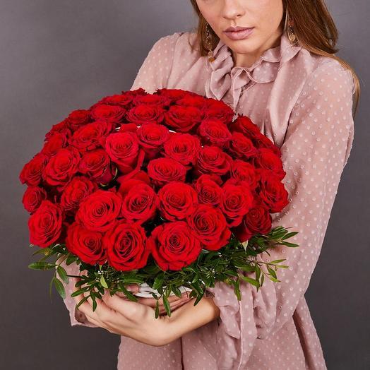 51 роза премиум в корзине