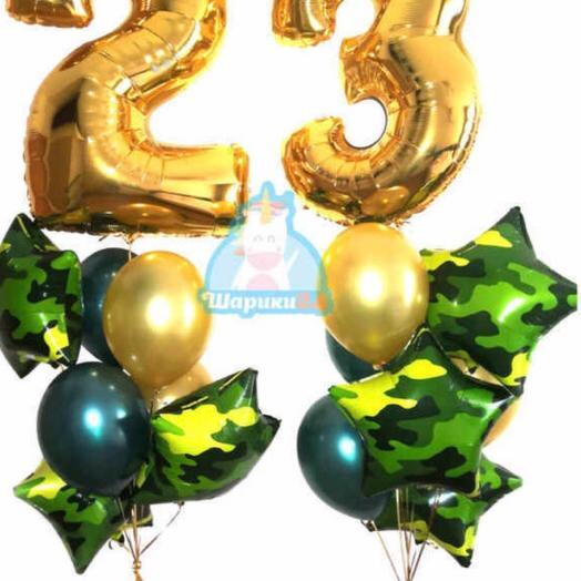 23 февраля букет шаров, 2 большие цвфрв ,  7 шар хромированые , звёзды 5 штук