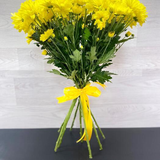 Букет из 9 жёлтых хризантем