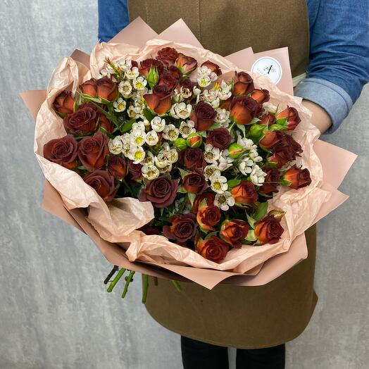 Author's bouquet with bush rose and chamelacium
