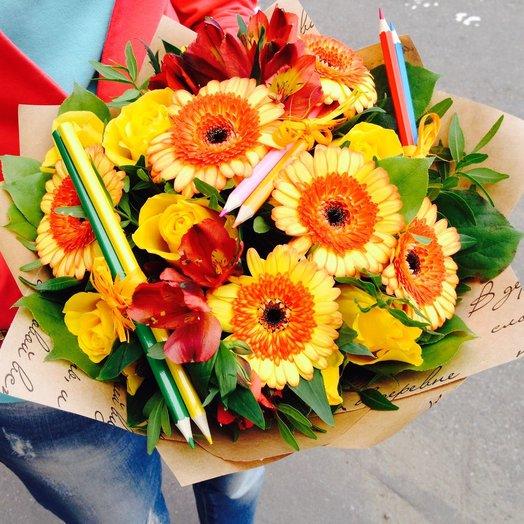 Букет к 1 сентября XL: букеты цветов на заказ Flowwow