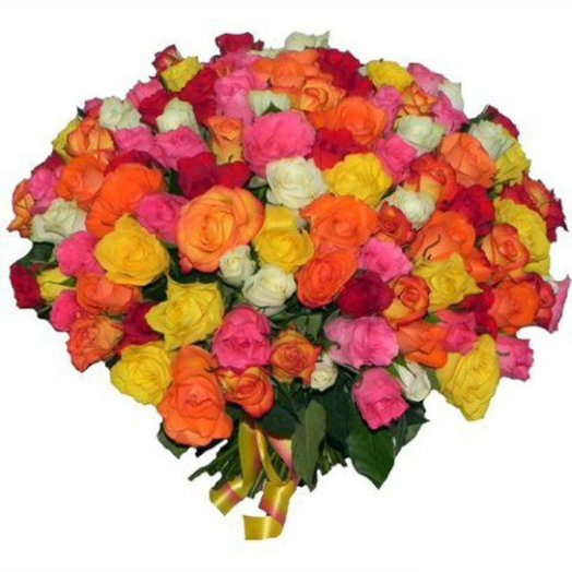 Букет из 101 розы разных цветов