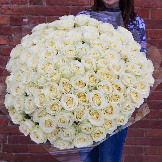 Букет из 101 белой голландской розы 80 см: букеты цветов на заказ Flowwow