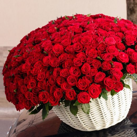 301 красная роза в корзина