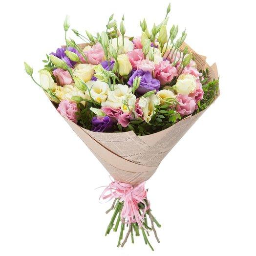 Букет эустомы в крафте (17 шт): букеты цветов на заказ Flowwow