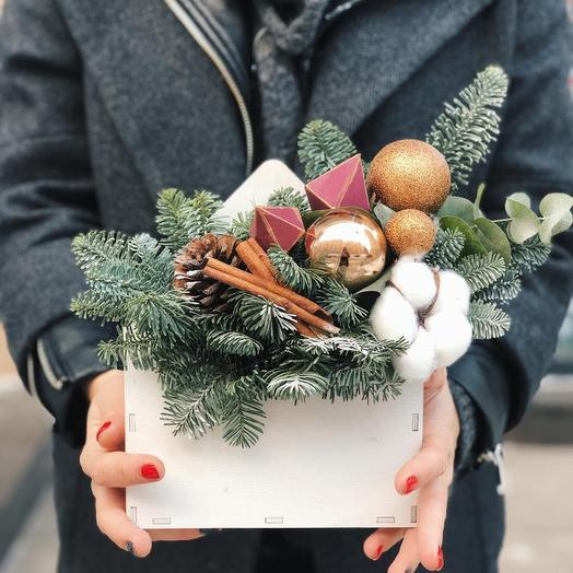 Новогодняя композиция «Подарочный конверт»: букеты цветов на заказ Flowwow