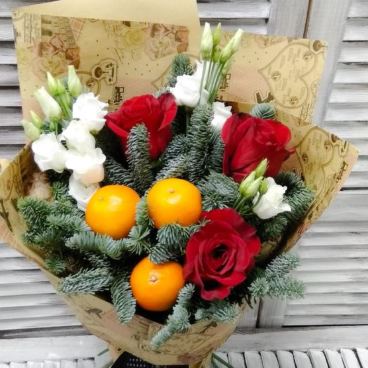 Букет с розами эустомой нобилисом и мандаринами: букеты цветов на заказ Flowwow