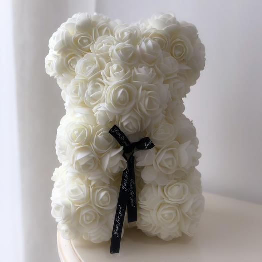 Мишка из роз 25 см белый: букеты цветов на заказ Flowwow