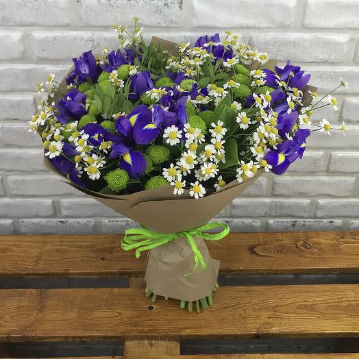 Букет танацетум, ирис, сантини: букеты цветов на заказ Flowwow