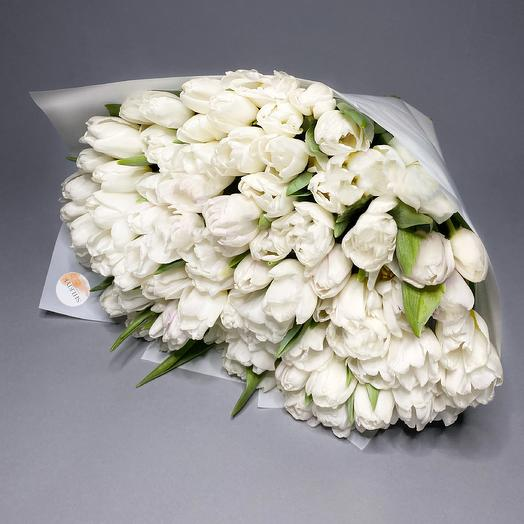 101 белоснежный тюльпан: букеты цветов на заказ Flowwow