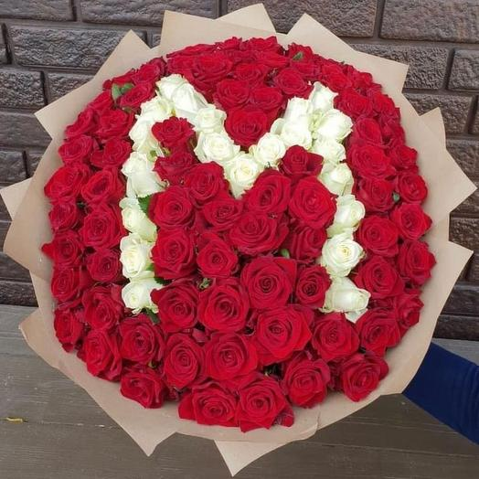 Букет из 101 розы с буквой: букеты цветов на заказ Flowwow