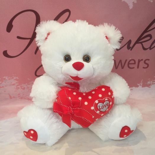 Мишка плюшевый с сердцем: букеты цветов на заказ Flowwow
