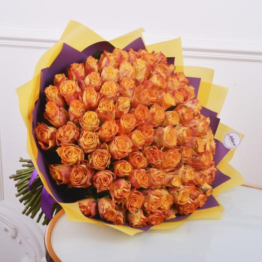 Букет 101 Огненная Роза: букеты цветов на заказ Flowwow