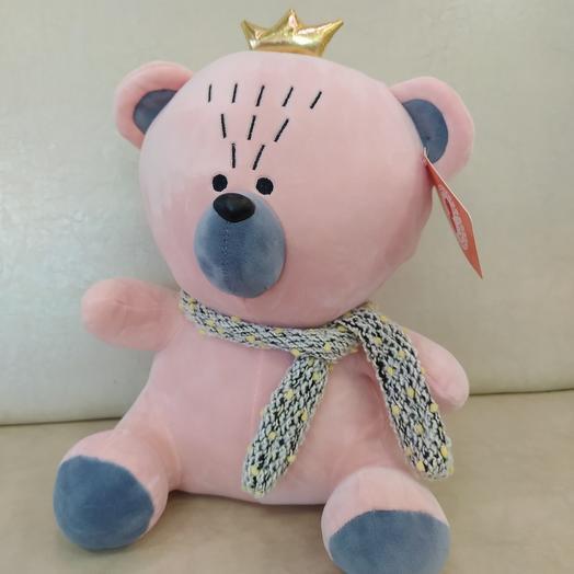 Розовый мишка с короной