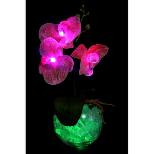 Ночник Орхидея розовая (зел) 3 цветка