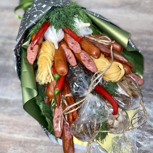 Колбасный букет с семечками