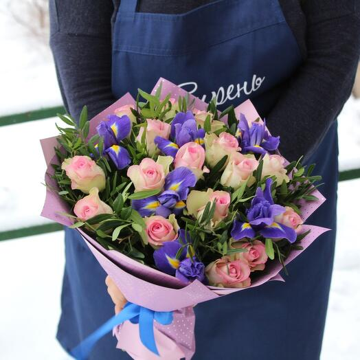 Bright bouquet of roses and irises Kenya