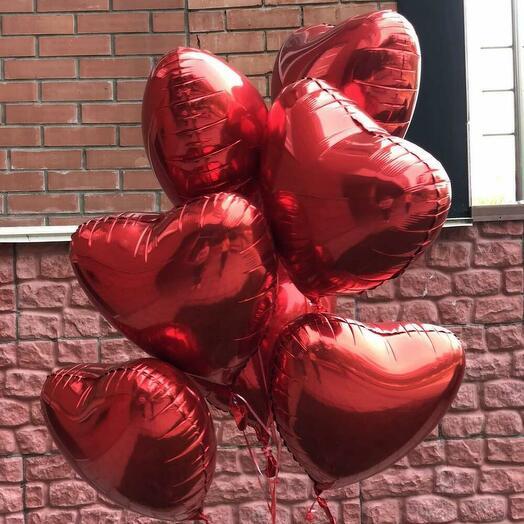 Набор шаров из 7 красных сердец