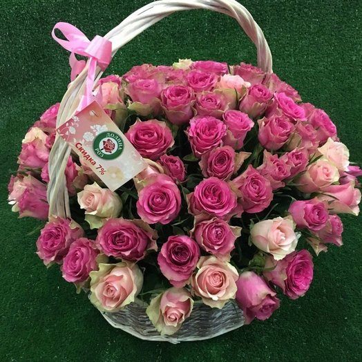 Шикарная корзинка со 101 голландской розой