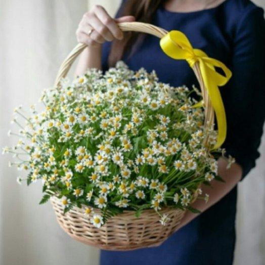 Полевые ромашки в корзине: букеты цветов на заказ Flowwow