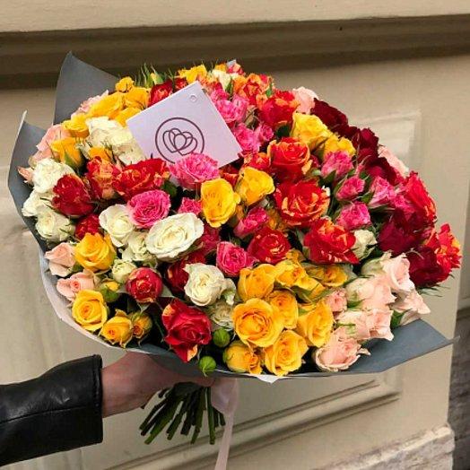 Кустовая роза- радужный микс