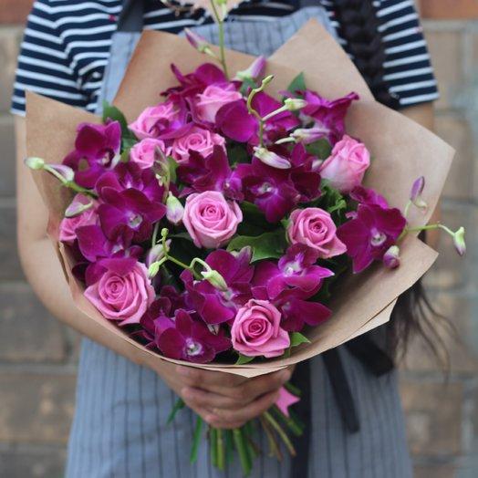 Розы и орхидеи: букеты цветов на заказ Flowwow