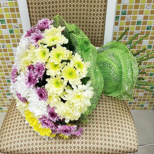 Долгоиграющая кустовая хризантема: букеты цветов на заказ Flowwow