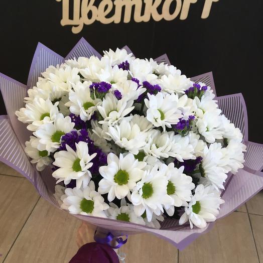 Букет из хризантем и статицы: букеты цветов на заказ Flowwow