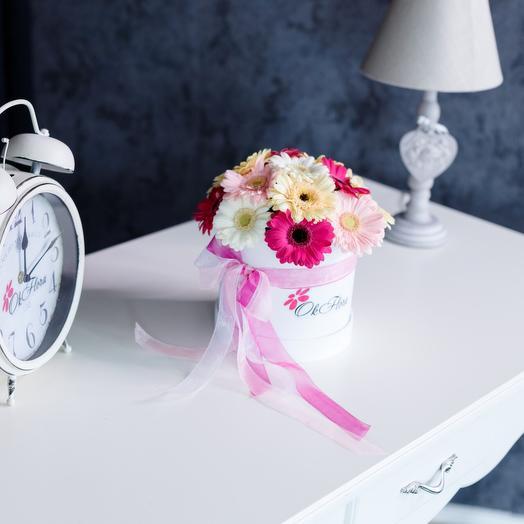 Маленькая Люкс коробка с разноцветной мини герберой, с премиум доставкой: букеты цветов на заказ Flowwow