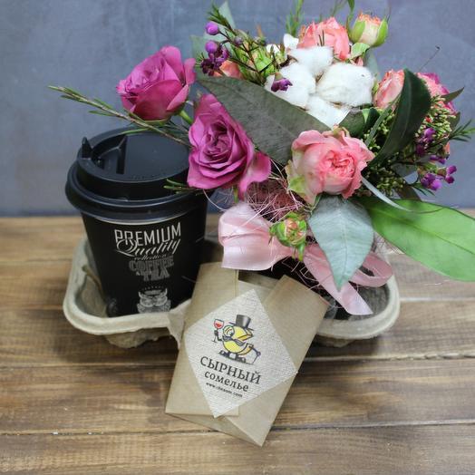 Оригинальный кофейный комплимент с сыром: букеты цветов на заказ Flowwow