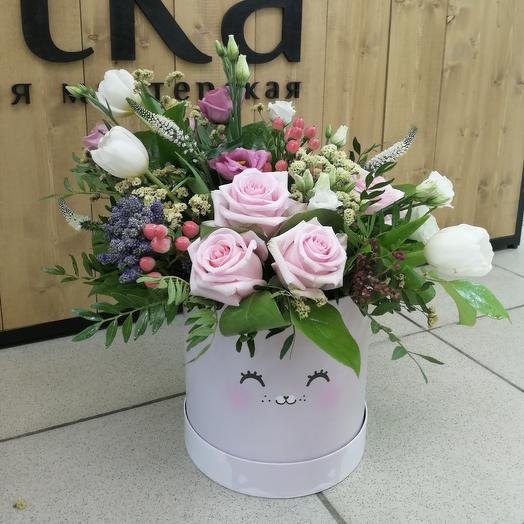 Шляпная коробка Зефирка: букеты цветов на заказ Flowwow