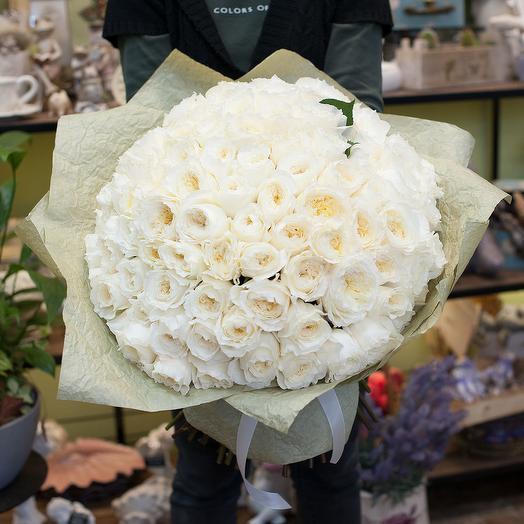 Букет из белых пионовидных роз (101)