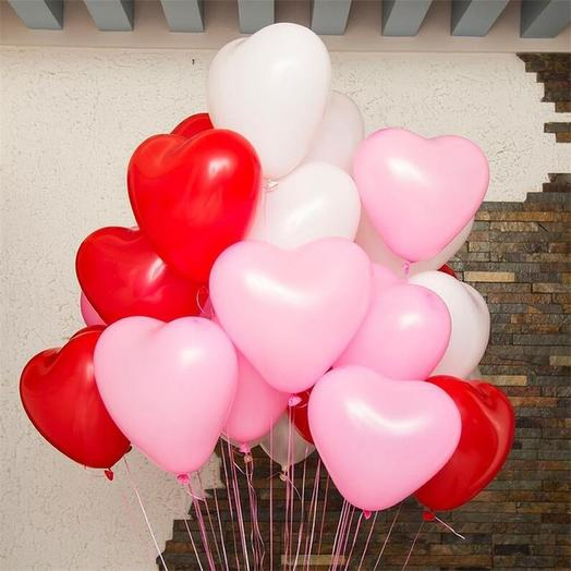 """15 гелевых шаров """" Сердце"""": букеты цветов на заказ Flowwow"""