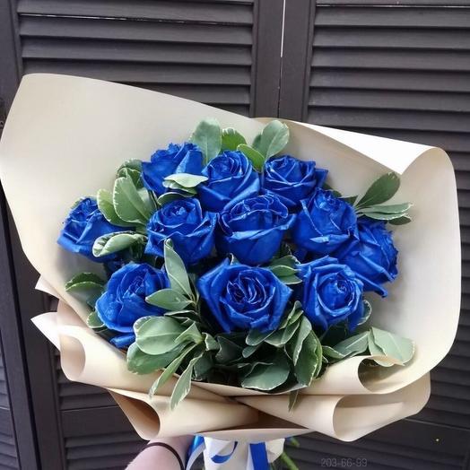 Букет из 11 голандских синих роз с экзотикой