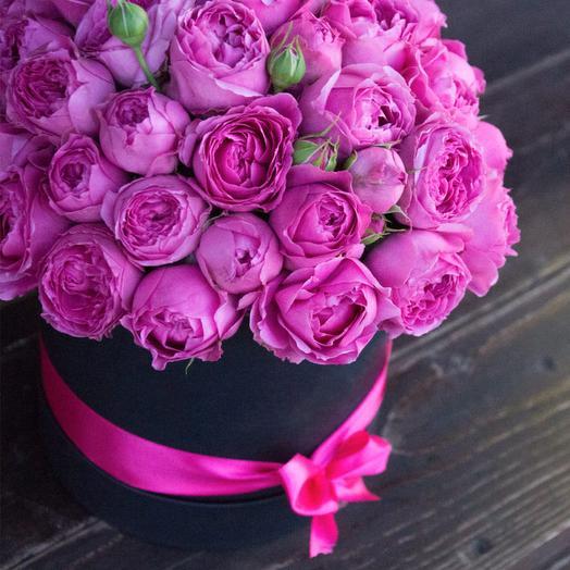Розы Мисти Бабблз в шляпной коробке-миди: букеты цветов на заказ Flowwow